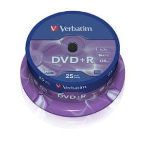 Verbatim DVD+R 4,7GB 16x spindl 25pck/BAL (43500)