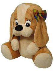 MÚ BRNO Pes s mašlí velký světle béžový, 70 cm