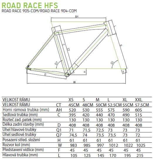 Geometrie rámu Merida Road race hfs