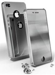CellularLine chrómové púzdro + zrkadlová fólia, strieborná - iPhone 4