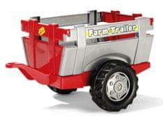 """Rolly Toys Vlečka za traktor 1osá """"Farm Trailer""""- striebornočervená"""