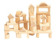 Woody Stavebnica kocky prírodné v kartóne, 50 dielov