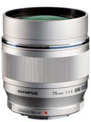 Olympus objektiv 75 mm M.ZUIKO DIGITAL ED f/1,8, srebrni