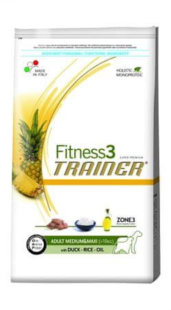 TRAINER Fitness 3 Adult Medium/Maxi Duck & Rice Kutyatáp, 12,5 kg