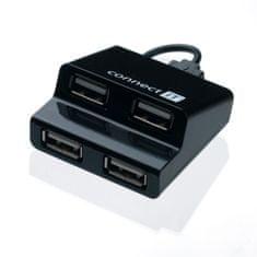 Connect IT USB hub 4 porty STEP - černý, CI-108