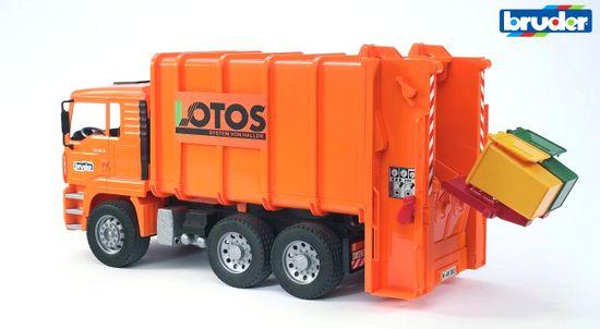BRUDER MAN TGA smetiarske auto oranžové s 2 smetnými nádobami 1:16