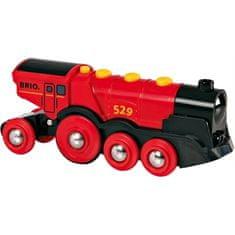 Brio Mohutná elektrická červená lokomotíva so svetlami