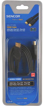 SENCOR SAV 177-015 (HDMI 1.4 plochý kabel), 1,5 m