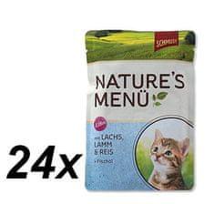 Schmusy hrana za mačke Nature Junior, losos in jagnjetina, 24 x 100 g