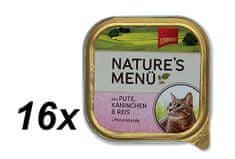 Schmusy Vaničky Schmusy Nature´s Menü krocan+králík 16 x 100g