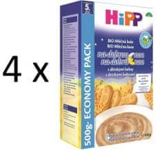 HiPP BIO Mliečnoobilná kaša na dobrú noc s detskými keksami 500g (3+1 zdarma)