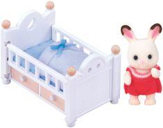 Sylvanian Families Czekoladowy królik dziecko z łóżeczkiem 2205