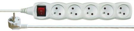 Emos Prodlužovací kabel s vypínačem, 5 zásuvek, 3 m, bílý