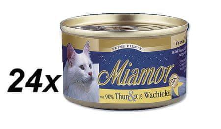 Finnern hrana za mačke Miamor, tuna in prepeličja jajca, 24 x 100 g
