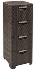 Curver Skříňka se zásuvkami Rattan Style 4x14 l