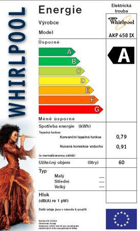 ecd89328cc Energiaosztály. Márka  Whirlpool Katalógus száma  502323. Whirlpool AKP 458  IX Beépíthető sütő