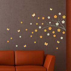 Crearreda zidna dekorativna naljepnica, grana s cvijećem, 3D