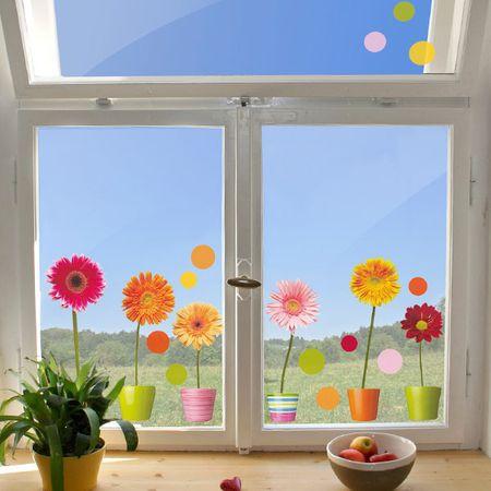Crearreda dekorativna nalepka za okno, gerbere (64003)