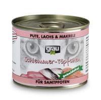 Grau Mokra hrana za mačke Grau, puran, losos, skuša, 6 x 200 g