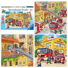 Ravensburger Tűzoltók Puzzle 3x49 db