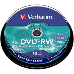Verbatim DVD-RW medij 4,7 GB 4x (43552), 10 na osi