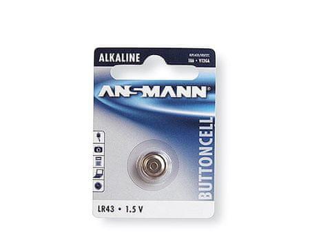 Ansmann Baterija LR43 gumbasta alkalna, 1 kos