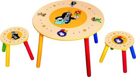 Bino Dětský stolek + 2 židle Krteček