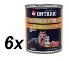 Ontario Kutyaeledel, sárgarépás, csirkés és lazaolcajos, 6 x 800 g