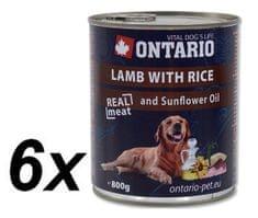 Ontario mokra karma dla psa Jagnięcina, ryż i olej słonecznikowy - 6 x 800g