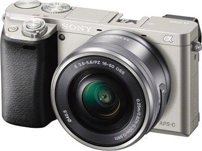 SONY Alpha 6000 + 16-50mm Digitális fényképezőgép objektívvel, Ezüst