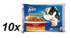 Felix Sensations s hovädzím v želé s paradajkami + s kuraťom a želé s mrkvou 10 x (4x100g)