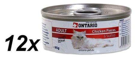Ontario mokra karma dla kota Chicken Pieces+Scallop 12 x 95g