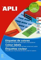 Apli naljepnice u boji 20 listova AP001593, crvene, 70 X 37 mm, 24/stranica