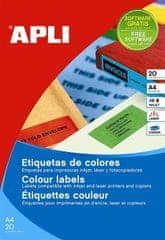 Apli naljepnice u boji 20 listova AP001594 zelene 70 X 37 mm, 24/stranica