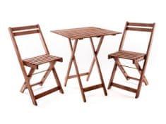 Happy Green balkonska garnitura Acacia, kvadratna miza + 2 stola