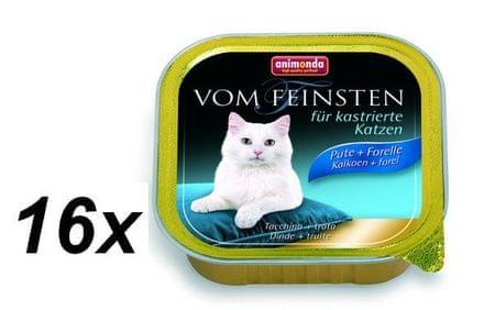 Animonda Vom Feinstein pašteta za kastrirane mačke, puran + postrv, 16 x 100 g