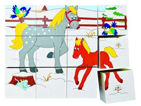 Woody Kocka puzzle, Állatok, 3 x 4