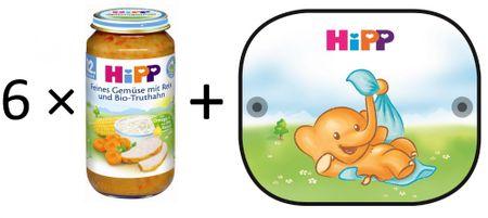 HiPP BIO Zelenina s rýží a krocaním masem 6x250g + 1× Sluneční clona