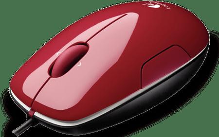 Logitech laserski miš M150, USB, crveni