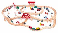 Woody lesena železnica z mostom in postajo, 90 kos