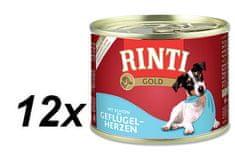 RINTI konserwa dla psa Gold z sercami drobiowymi - 12 x 185g