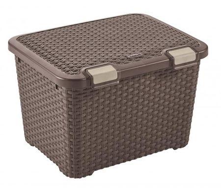 CURVER Tároló doboz Rattan Style 43 l sötétbarna