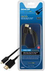 SENCOR kabel HDMI A - HDMI micro D, 1,5 m