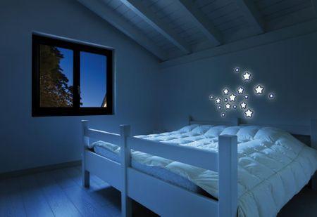 Crearreda stenska dekorativna nalepka, 3D svetleče zvezdice