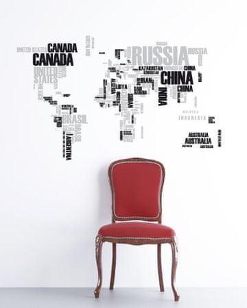 Crearreda zidna dekorativna naljepnica, imena država, XL