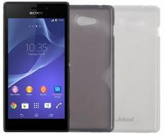 Jekod silikonski ovitek za GSM Sony Xperia M2, prozorno črn (D2303 TPU/TB) + zaščitna folija
