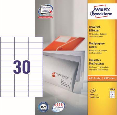Avery Zweckform etikete 3489, 70x29.7 mm