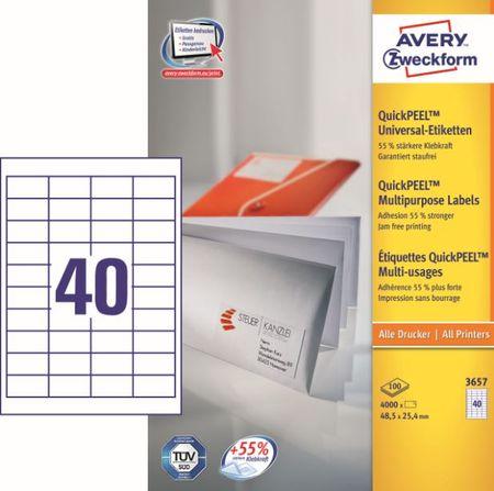 Avery Zweckform etikete 3657, 48,5x25,4 mm