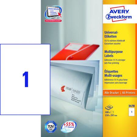 Avery Zweckform etikete 3478, A4, bele