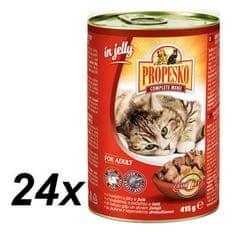 Propesko mokra karma dla kotów - kawałki wołowiny z wątróbką w galarecie 24 x 415 g